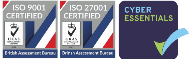 ISO9001, ISO27001 and Cyber Essentials Certifications